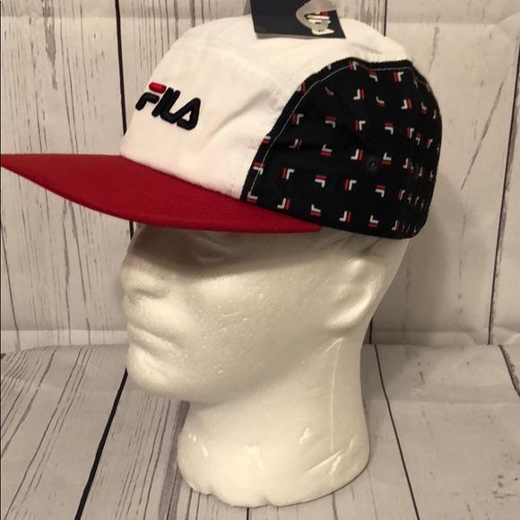 f113aa9930c FILA Camper Hat Cap Navy Logo Embroidered SnapBack